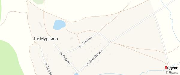 Улица Гареева на карте деревни 1-е Мурзино с номерами домов