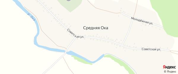 Советская улица на карте деревни Средней Оки с номерами домов