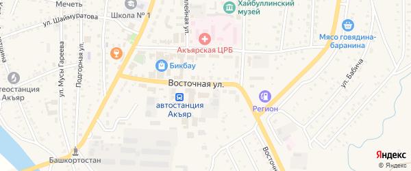 Восточная улица на карте села Акъяра с номерами домов