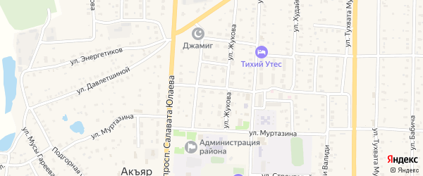 Улица 40-летия Победы на карте села Акъяра с номерами домов