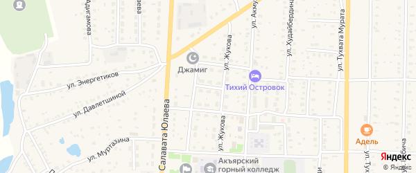 Улица Матросова на карте села Акъяра с номерами домов