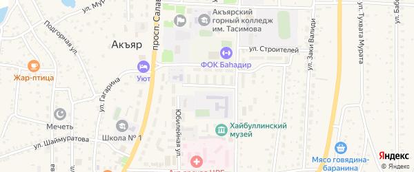 Юбилейная улица на карте села Акъяра с номерами домов