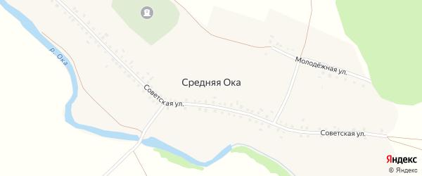 Молодежная улица на карте деревни Средней Оки с номерами домов
