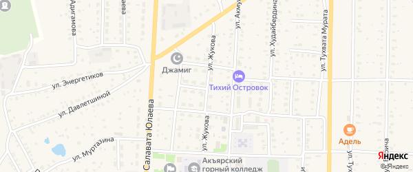 Улица Жукова на карте села Акъяра с номерами домов