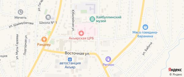 Улица Батанова на карте села Акъяра с номерами домов