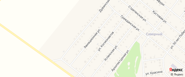 Авиационная улица на карте села Месягутово с номерами домов