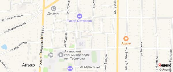 Переулок Ветеранов на карте села Акъяра с номерами домов