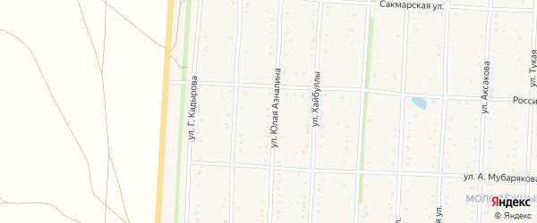 Улица Юлая Азналина на карте села Акъяра с номерами домов