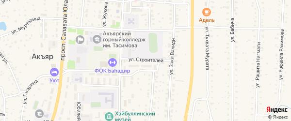 Улица Строителей на карте села Акъяра с номерами домов