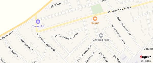 Улица С.Юлаева на карте села Месягутово с номерами домов
