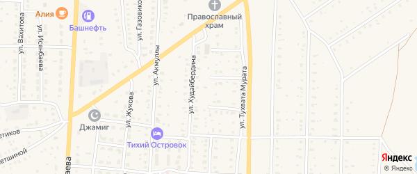 Переулок Худайбердина на карте села Акъяра с номерами домов