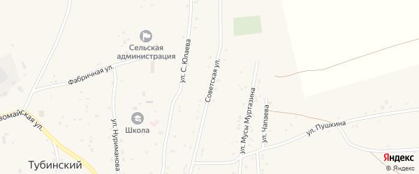 Советская улица на карте села Тубинского с номерами домов