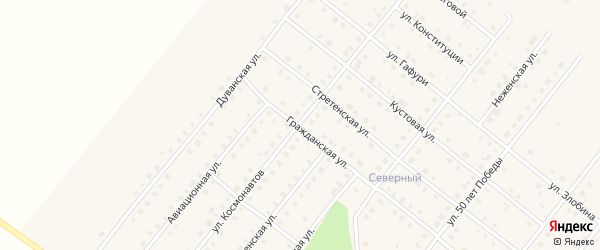Улица Космонавтов на карте села Месягутово с номерами домов