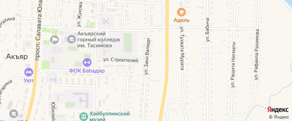 Улица Заки Валиди на карте села Акъяра с номерами домов