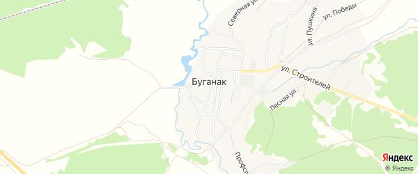 Карта села Буганака в Башкортостане с улицами и номерами домов