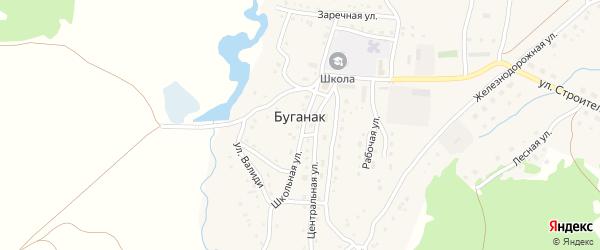 Школьная улица на карте села Буганака с номерами домов