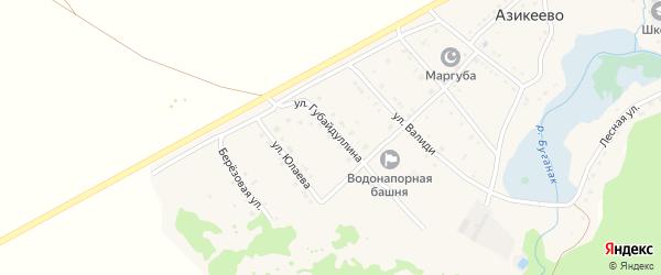 Лесная улица на карте села Азикеево с номерами домов