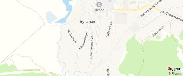 Центральная улица на карте села Буганака с номерами домов