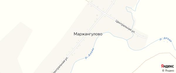 Центральная улица на карте деревни Маржангулово с номерами домов