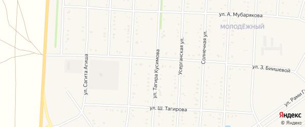 Улица Тагира Кусимова на карте села Акъяра с номерами домов