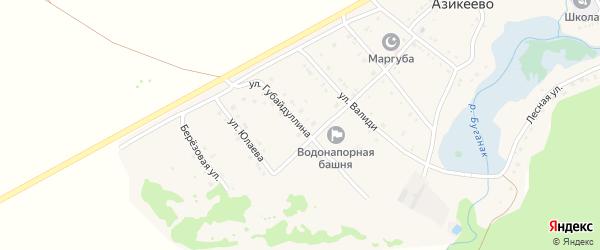 Улица Губайдуллина на карте села Азикеево с номерами домов