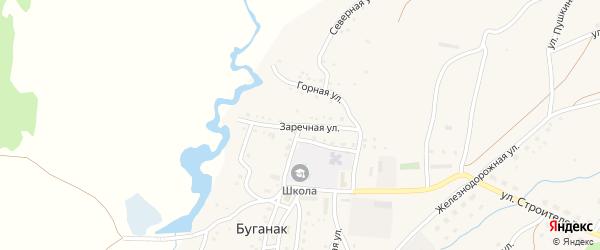 Заречная улица на карте села Буганака с номерами домов