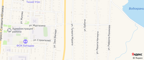 Переулок Тухвата Мурата на карте села Акъяра с номерами домов