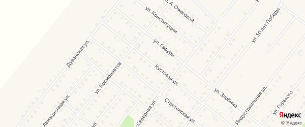 Кустовая улица на карте села Месягутово с номерами домов