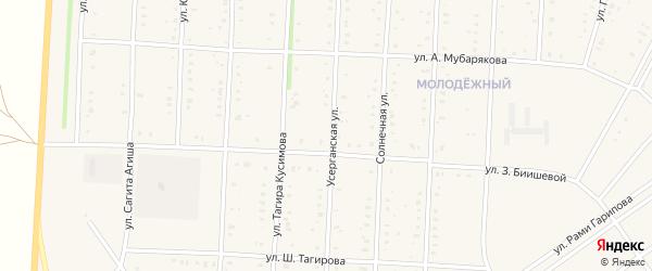 Усерганская улица на карте села Акъяра с номерами домов