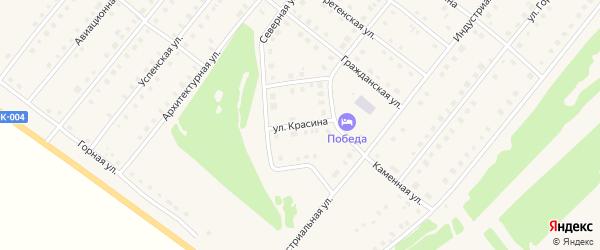 Улица Красина на карте села Месягутово с номерами домов