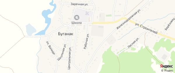 Рабочая улица на карте села Буганака с номерами домов