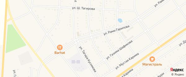 Российская улица на карте села Акъяра с номерами домов