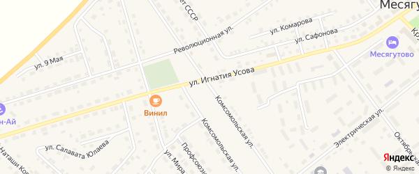 Комсомольская улица на карте села Месягутово с номерами домов