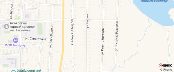 Улица Бабича на карте села Акъяра с номерами домов
