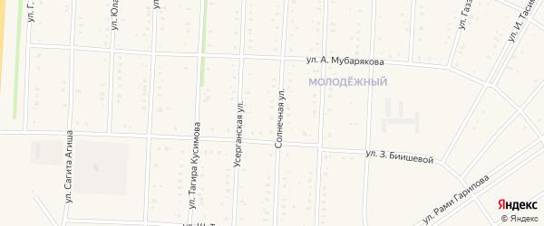 Солнечная улица на карте села Акъяра с номерами домов