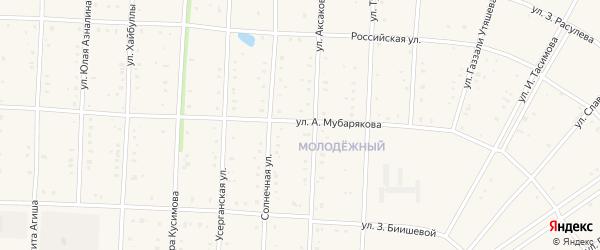 Улица Арслана Мубарякова на карте села Акъяра с номерами домов