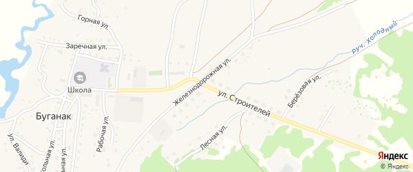 Улица Строителей на карте села Буганака с номерами домов
