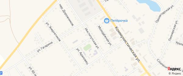 Институтская улица на карте села Месягутово с номерами домов