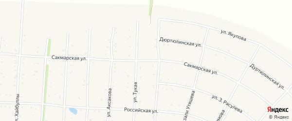 Сакмарская улица на карте села Акъяра с номерами домов