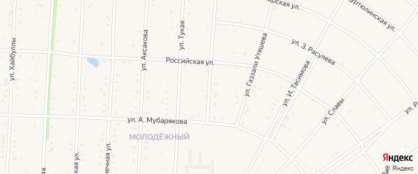 Улица Равиля Хайбуллина на карте села Акъяра с номерами домов