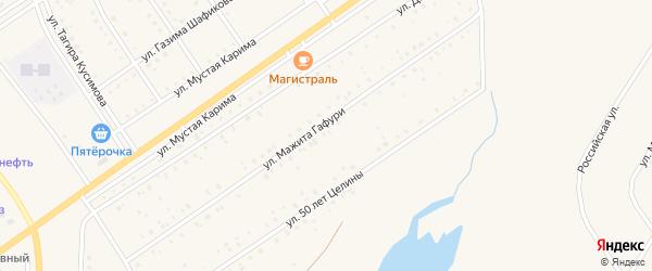 Улица Мажита Гафури на карте села Акъяра с номерами домов