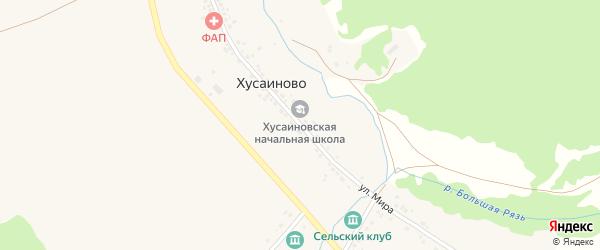 Луговая улица на карте деревни Хусаиново с номерами домов