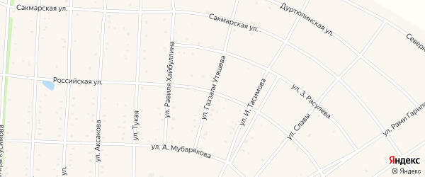 Улица Газзали Утяшева на карте села Акъяра с номерами домов
