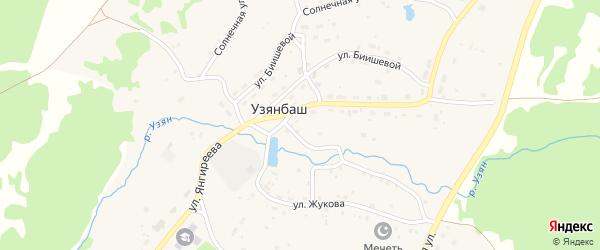 Улица Д.Янгиреева на карте села Узянбаша с номерами домов