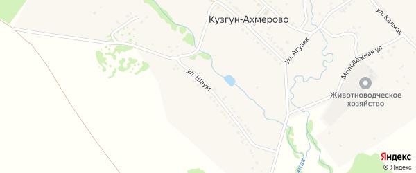 Улица Шаум на карте деревни Кузгун-Ахмерово с номерами домов