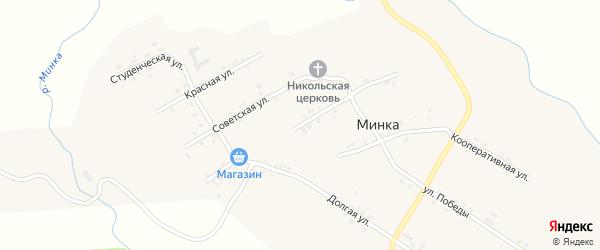 Краснопартизанская улица на карте села Минки с номерами домов