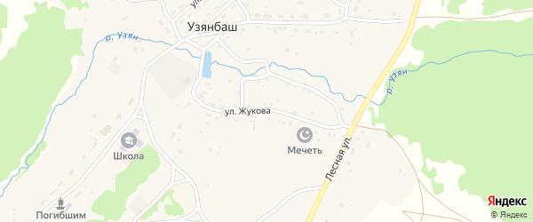 Улица Жукова на карте села Узянбаша с номерами домов