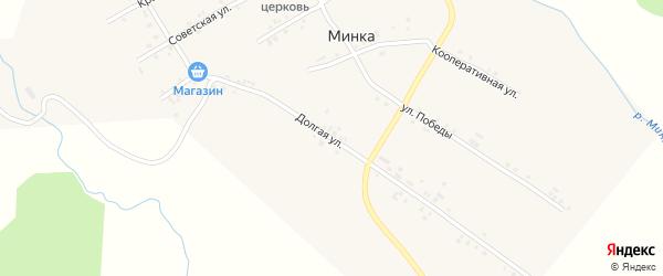 Долгая улица на карте села Минки с номерами домов