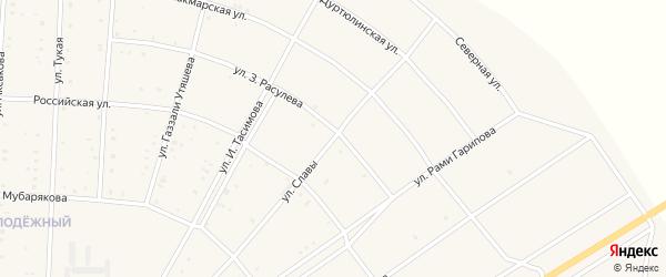 Улица Славы на карте села Акъяра с номерами домов