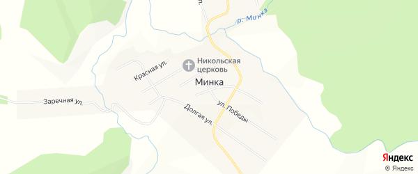 Карта села Минки города Усть-Катава в Челябинской области с улицами и номерами домов